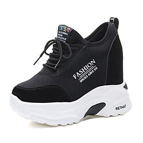voordelige Damessneakers-Dames Sneakers Verborgen hiel Ronde Teen Netstof / PU Sportief / Brits Lente zomer / Herfst winter Zwart / Wit / leuze