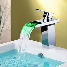 billige Ugentlige Tilbud-Håndvasken vandhane - Vandfald / Farveskiftende Krom Basin Enkelt håndtag Et HulBath Taps / Messing