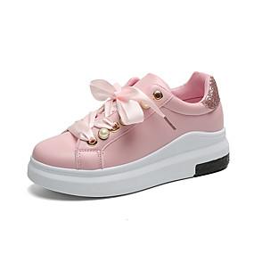 voordelige Damessneakers-Dames Sneakers Lage hak Ronde Teen Kanten stiksel PU Informeel Wandelen Herfst winter Zwart / Roze en Wit / Wit