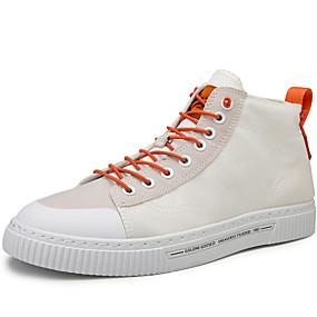 baratos Tênis Masculino-Homens Sapatos Confortáveis Microfibra Primavera Verão / Outono & inverno Casual Tênis Respirável Preto / Branco / Khaki