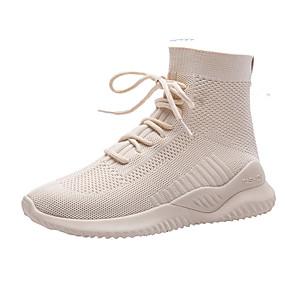voordelige Damessneakers-Dames Sneakers Lage hak Ronde Teen Elastische stof / Tissage Volant Herfst / Lente zomer Zwart / Beige