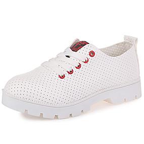 voordelige Damessneakers-Unisex Sneakers Platte hak Ronde Teen Imitatieleer Informeel / minimalisme Wandelen Lente & Herfst Zwart / Rood / Kleurenblok