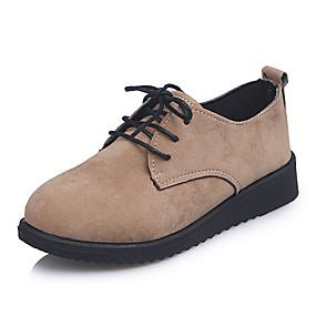 voordelige Damessneakers-Dames Sneakers / Oxfords Lage hak Ronde Teen Microvezel / PU Herfst / Lente zomer Zwart / Bruin / Beige