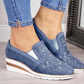 voordelige Damesschoenen met platte hak-Dames Platte schoenen Platte hak Ronde Teen Netstof Zomer Blauw / Roze / Grijs