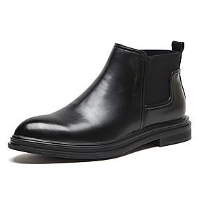 baratos Botas Masculinas-Homens Sapatos Confortáveis Couro Ecológico Outono Botas Botas Cano Médio Preto / Marron
