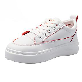 billige Sneakers til damer-Dame Treningssko Creepers Rund Tå PU Søt / minimalisme Løp / Trening og crosstrening Vår & Vinter / Vår sommer Grønn / Oransje / Blå