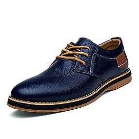 baratos Oxfords Masculinos-Homens Sapatos formais Pele Primavera Oxfords Preto / Azul / Marron