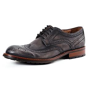 baratos Oxfords Masculinos-Homens Sapatos Confortáveis Couro Outono Oxfords Preto / Marron