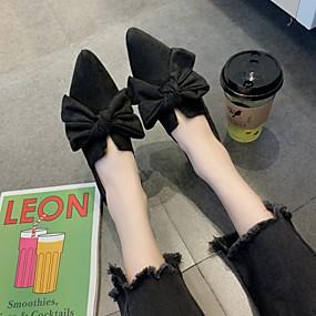 voordelige Damesschoenen met platte hak-Dames Platte schoenen Platte hak Gepuntte Teen Strik Rubber Klassiek Lente & Herfst Zwart / Donker Bruin