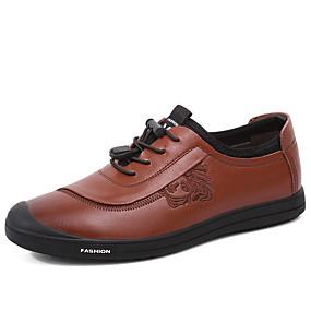baratos Tênis Masculino-Homens Sapatos de couro Pele Primavera / Outono & inverno Vintage / Formais Tênis Caminhada Não escorregar Preto / Marron
