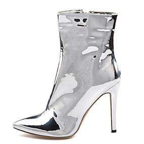 billige Mote Boots-Dame Støvler Stiletthæl Spisstå Paljett Fuskelær Ankelstøvler Britisk / minimalisme Vår & Vinter / Vinter Sølv / Fest / aften