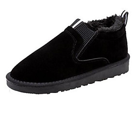 voordelige Damesinstappers & loafers-Unisex Loafers & Slip-Ons Platte hak Ronde Teen Suède Chinoiserie / minimalisme Herfst winter Zwart / Donker Bruin / Khaki