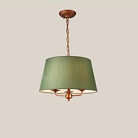 billige Hengelamper-pendellampe moderne enkel hengende lys rundt stoffskygge amerikanske lysekroner 2 lys for spisestue i stuen
