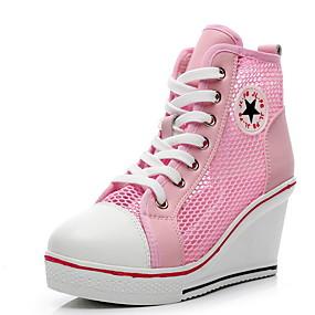 voordelige Damessneakers-Dames Sneakers Sleehak Ronde Teen PU Zomer Zwart / Wit / Roze