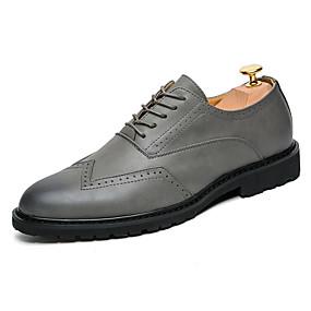baratos Oxfords Masculinos-Homens Sapatos formais Microfibra Primavera Verão / Outono & inverno Negócio / Casual Oxfords Respirável Preto / Marron / Cinzento / Sapatos de vestir