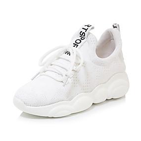 voordelige Damessneakers-Dames Sneakers Creepers Ronde Teen Netstof Studentikoos / minimalisme Wandelen / Swingschoenen Lente & Herfst Zwart / Wit