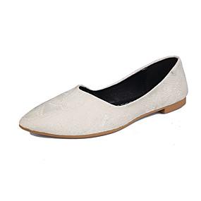 voordelige Damesinstappers & loafers-Dames Loafers & Slip-Ons Blok hiel Gepuntte Teen PU Herfst Zwart / Licht Groen / Beige