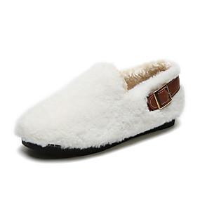 voordelige Damesschoenen met platte hak-Dames Platte schoenen Platte hak Ronde Teen Imitatiebont Herfst winter Zwart / Wit / Khaki