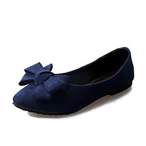 voordelige Damesschoenen met platte hak-Dames Platte schoenen Platte hak Gepuntte Teen Strik PU Zoet / minimalisme Lente zomer / Herfst winter Zwart / Rood / Blauw