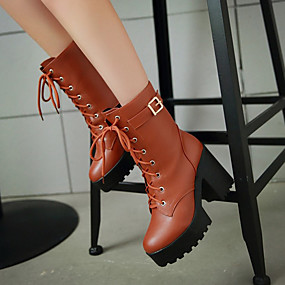billige Mote Boots-Dame Støvler Tykk hæl Rund Tå Spenne PU Ankelstøvler Fritid / minimalisme Vår sommer / Høst vinter Svart / Brun / Gul