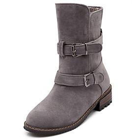 billige Mote Boots-Dame Støvler Flat hæl Rund Tå Semsket lær Støvletter Høst vinter Svart / Gul / Grå