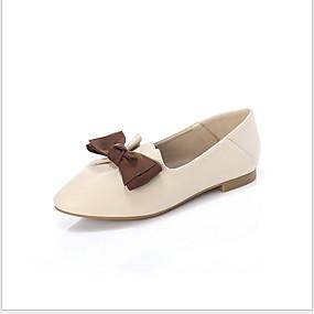 voordelige Damesschoenen met platte hak-Dames Platte schoenen Platte hak Gepuntte Teen Strik Microvezel Zomer Zwart / Amandel