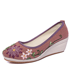 voordelige Damesinstappers & loafers-Dames Loafers & Slip-Ons Sleehak Ronde Teen Satijnen bloem Linnen Vintage / Chinoiserie Lente / Herfst winter Wit / Paars / Blauw