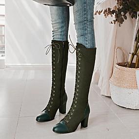 billige Mote Boots-Dame Støvler Tykk hæl Rund Tå PU Knehøye støvler Vinter Svart / Brun / Grønn