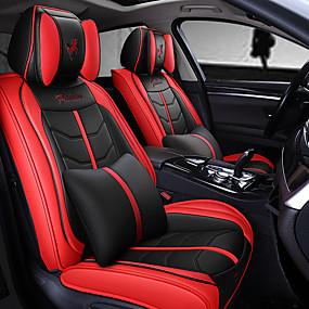 billige Nyankomne i oktober-5stk / sett fem seter bilstolpute fire-sesong universell sportsbil setetrekk inkludert 2 nakkestøtter og 2 korsrygg kompatibel med kollisjonspute.