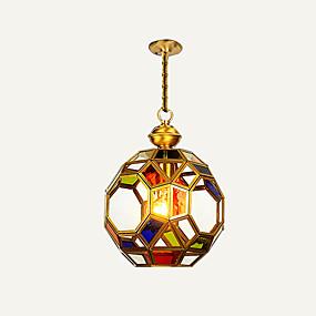 abordables Plafonniers-HEDUO Lampe suspendue Lumière dirigée vers le bas Laiton Cuivre Verre Protection des Yeux, Adorable 110-120V / 220-240V
