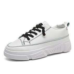 voordelige Damessneakers-Dames Sneakers Creepers Ronde Teen PU Informeel Wandelen Lente zomer / Herfst winter Zwart / Wit