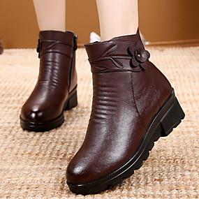billige Mote Boots-Dame Støvler Flat hæl Rund Tå PU Ankelstøvler Høst vinter Svart / Brun / Rød