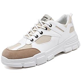 baratos Sapatos Esportivos Masculinos-Homens Sapatos Confortáveis Couro Ecológico Outono & inverno Tênis Caminhada Preto / Branco / Khaki