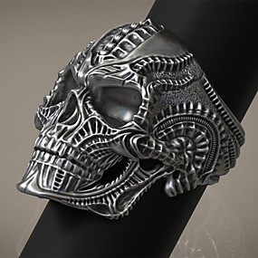 cheap Halloween Accessories & Jewelry-Men's Ring 1pc Silver Alloy irregular Vintage Punk Trendy Daily Jewelry Vintage Style Skull
