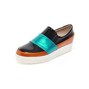 voordelige Damesinstappers & loafers-Dames Loafers & Slip-Ons Plateau Ronde Teen Lakleer Informeel Lente zomer Zwart / Wit