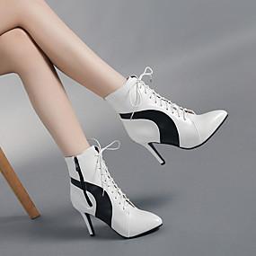 billige Mote Boots-Dame Støvler Stiletthæl Spisstå PU Ankelstøvler Vintage / minimalisme Vår & Vinter / Høst vinter Svart / Hvit / Fargeblokk