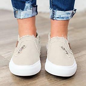 voordelige Damessneakers-Unisex Sneakers Platte hak Ronde Teen Knoop Canvas / Denim Informeel / Brits Trektochten / Wandelen Lente & Herfst Zwart / Licht Roze / Marine Blauw