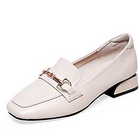 voordelige Damesinstappers & loafers-Dames Loafers & Slip-Ons Blokhak Vierkante Teen Rubber / Microvezel Herfst Zwart / Beige