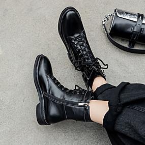 billige Mote Boots-Dame Støvler Lav hæl Rund Tå Nappa Lær Vinter Svart / Hvit