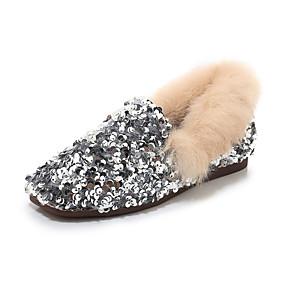 voordelige Damesschoenen met platte hak-Dames Platte schoenen Platte hak Ronde Teen Pailletten Synthetisch Informeel Winter Zwart / Zilver