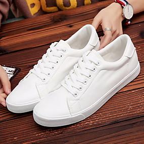 voordelige Damessneakers-Dames Sneakers Platte hak Ronde Teen Canvas Zomer zwart / wit / Wit
