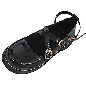 voordelige Damesschoenen met platte hak-Dames Platte schoenen Platte hak Ronde Teen PU Zomer Zwart