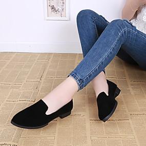 voordelige Damesschoenen met platte hak-Dames Platte schoenen Blokhak Gepuntte Teen PU Lente & Herfst Zwart / Lichtbruin / Bordeaux