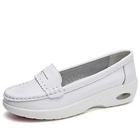 voordelige Damesinstappers & loafers-Dames Loafers & Slip-Ons Platte hak Ronde Teen Leer minimalisme Lente zomer / Herfst winter Wit