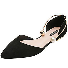 voordelige Damesschoenen met platte hak-Dames Platte schoenen Platte hak Gepuntte Teen Suède Herfst / Lente zomer Zwart / Wijn / Amandel