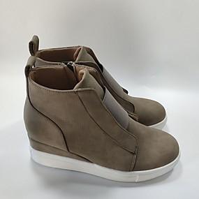 voordelige Damessneakers-Dames Sneakers Platte hak Ronde Teen PU Korte laarsjes / Enkellaarsjes Herfst winter Zwart / Bruin / Luipaard