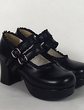 cheap Toys & Hobbies-Lolita Shoes Gothic Lolita Dress Sweet Lolita Dress Classic Lolita Dress Classic Lolita Lolita High Heel Shoes Solid Colored 7.5 cm CM White / Black / Pink For PU Leather / Polyurethane Leather