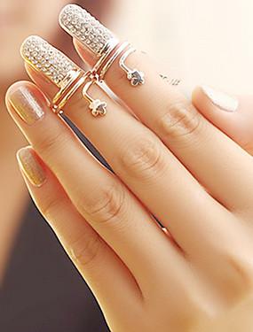 billige Fashion Rings-Dame Nail Finger Ring Blomst Billig damer Uvanlig Unikt design Mote Strass Legering Motering Smykker Sølv / Gylden Til Fest Daglig 6 / 7