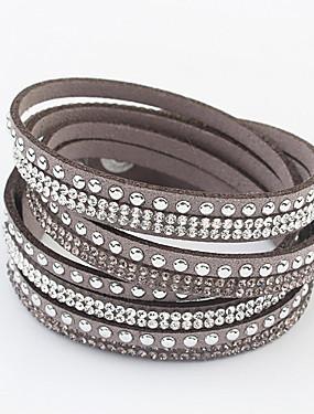 voordelige Wikkelarmband-Dames Wikkelarmbanden Meerlaags Lang stapelbaar Goedkoop Dames Chic & Modern Europees Leder Armband sieraden Rood / Groen / Blauw Voor Feest / Avond Dagelijks Schoolfeest / Strass