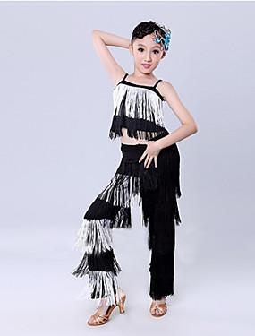 olcso Esküvők & események-Latin tánc Felszerelések Edzés / Teljesítmény Poliészter Rojt Ujjatlan Természetes Felső / Nadrágok